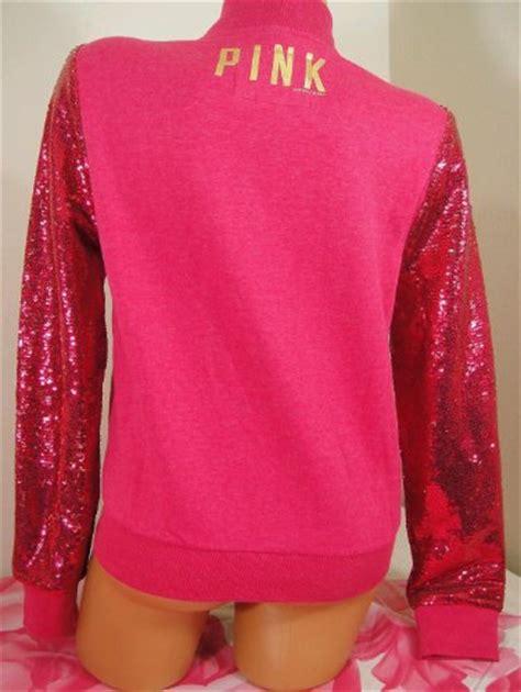 Jkt Femara Abupink nwt s secret pink limited edition pink bling sequin varsity jacket size m buy