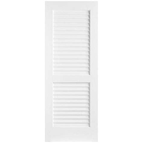 Interior Louvered Doors Lowes Masonite 30 In X 80 In Plantation Smooth Louver Solid Primed Composite Single
