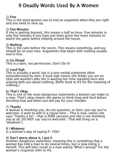 9 deadly words used by women The Poke