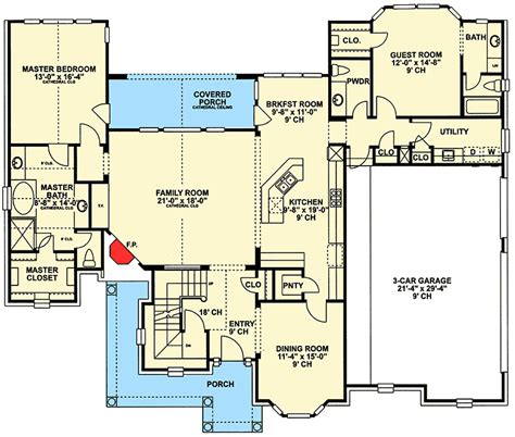 floor plans with in suite 4 bed brick house plan with secluded in suite 4074db