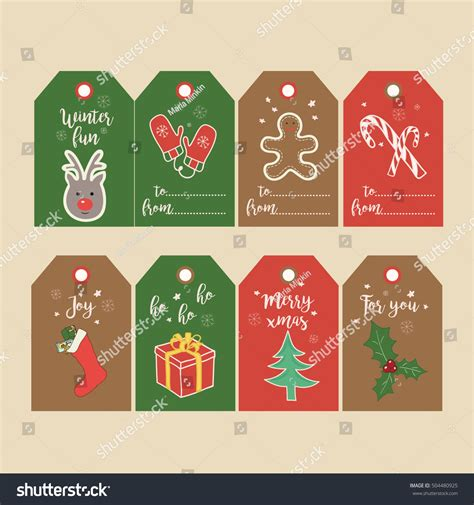 printable decorative gift tags set christmas gift tags labels hand stock vector 504480925
