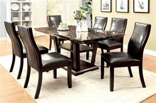 Cherry Dining Table Set Modern Faux Marble Top Cherry Finish 7 Pc Dining Table Set
