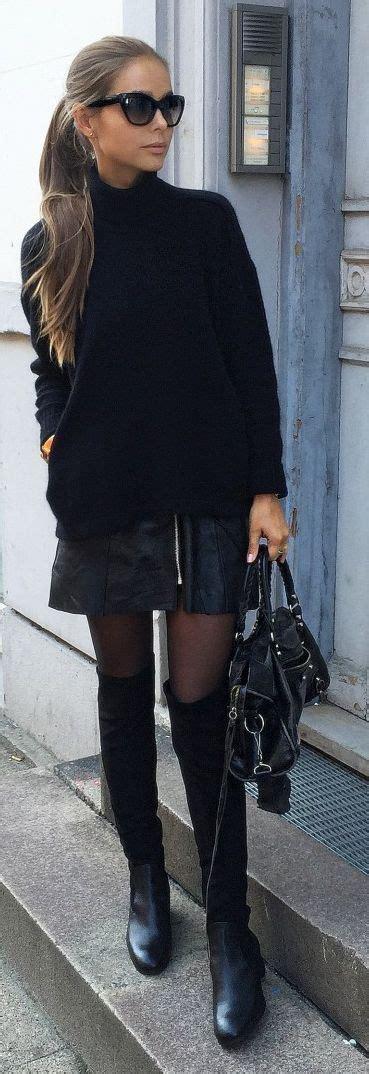 Sweater Elegan Turtle Navy edgy black look turtle neck black sweater leather