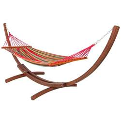 Hammock And Wooden Stand wooden curved arc hammock stand with cotton hammock outdoor garden patio ebay