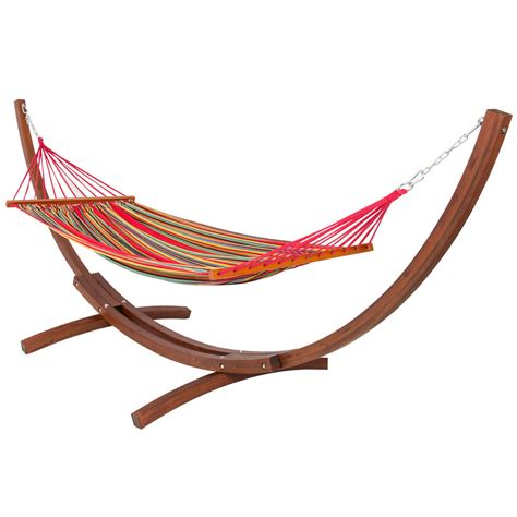 Porch Hammock With Stand Wooden Curved Arc Hammock Stand With Cotton Hammock