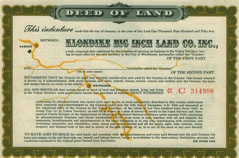 Record Of Sale Of Property The Klondike Big Inch