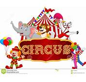 Cartoon Happy Animal Circus With Clown On The Carnival