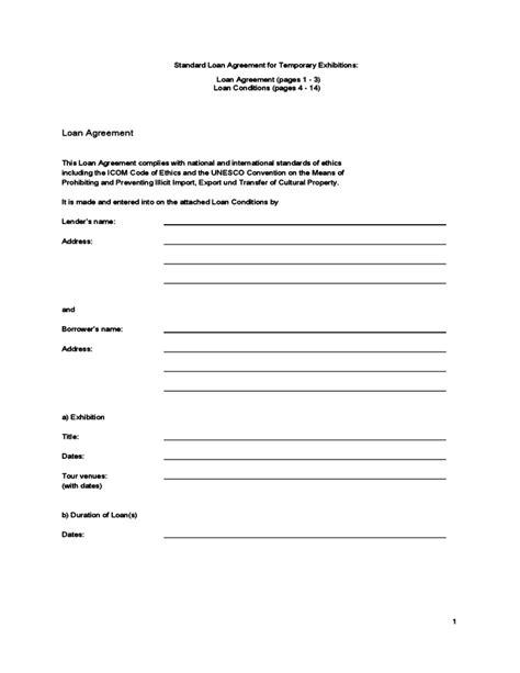 standard loan agreement template standard loan agreement template free promissory note