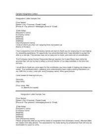 letter of resignation resignation letter examples