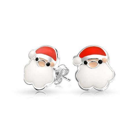 Santa Claus Earings Anting Santa 1 white enamel bearded santa claus 925 sterling