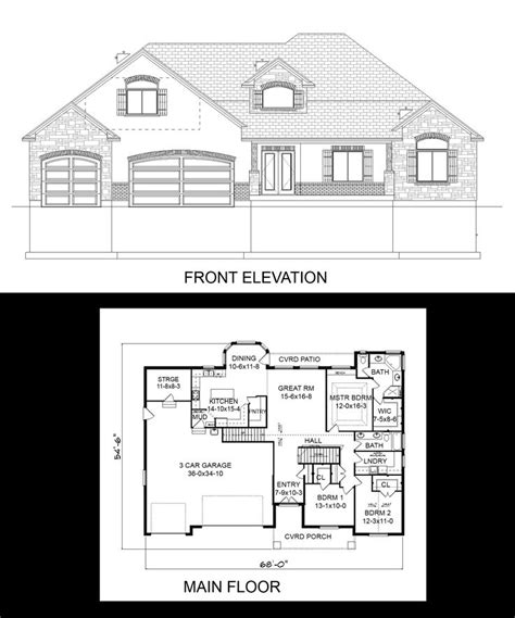 3 Car Garage With Bonus Room Plans 1000 images about one story house plans on