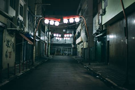 free stock photo of alley city lights