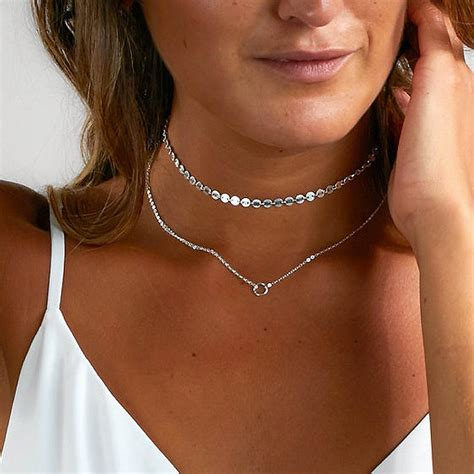 Kalung Fashion Choker Metal Shape Layer new arrival fashion simple and metal circle sequins necklace layer choker