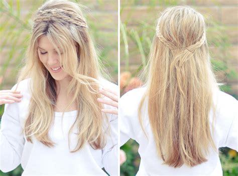 chain braid headband hairstyle for medium long hair tutorial diy hair style ideas for long hair diy ideas tips