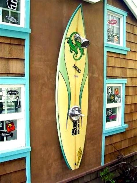 surfboard outdoor shower house entry outdoor showers kidspace interiors