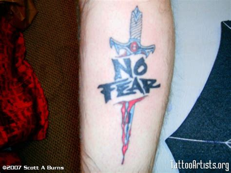 fear nothing tattoo design no fear design with dagger on leg finished fear