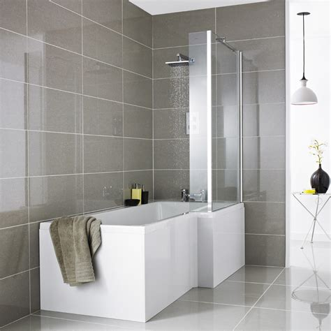 1500mm l shaped shower bath premier 1500mm l shaped shower bath with acrylic front panel screen