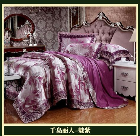 deep purple bedding deep purple luxury brand lace satin jacquard bedding