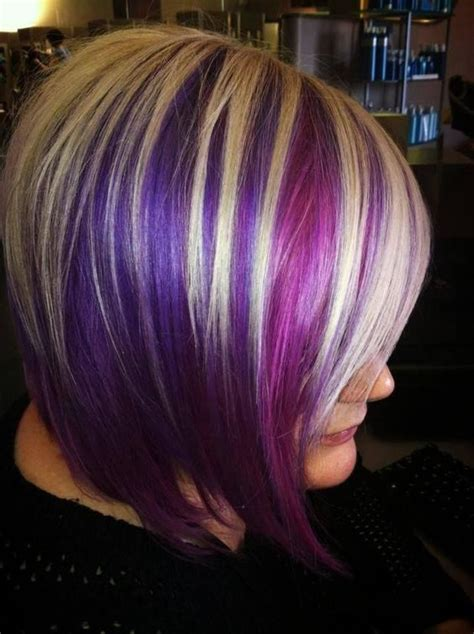 short hairstyles with peekaboo purple layer blonde and purple highlights on brown hair google search