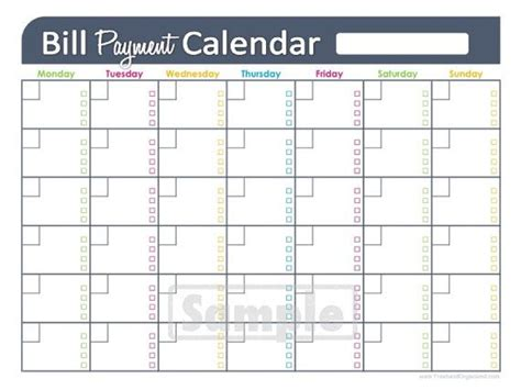 Bill Payments Calendar Editable Personal Finance Organizing Printables Financial Binder Financial Schedule Template