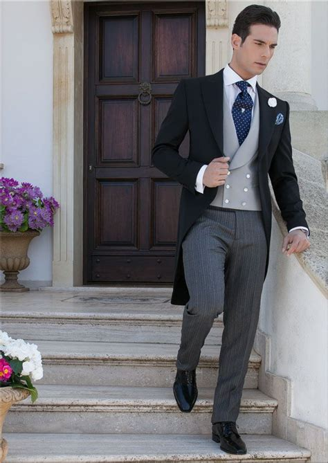 wedding etiquette black tie time black wool satin morning suit combined with
