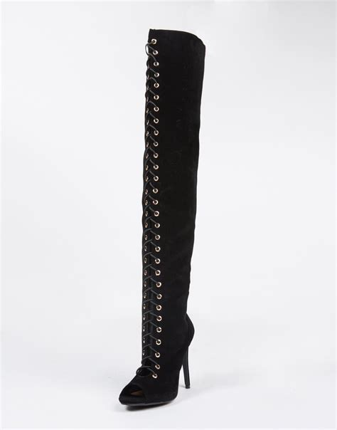lace up thigh high boots black gladiator heels peep
