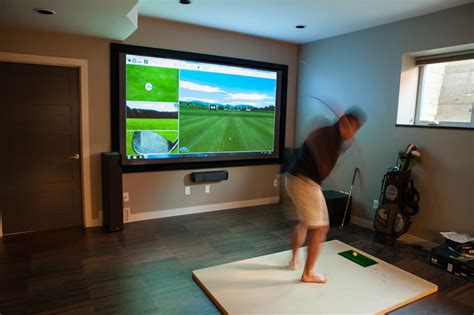 Garage Man Cave Designs golf simulator contemporary home theater edmonton