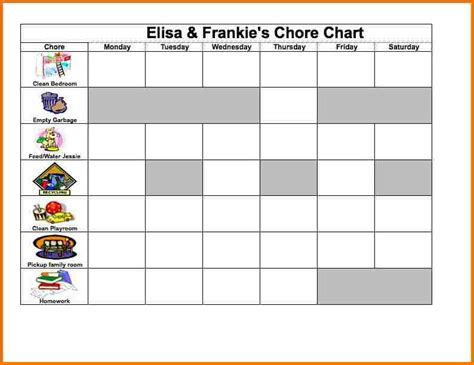 Excel Chore Chart Authorization Letter Pdf Chore Chart Template Excel