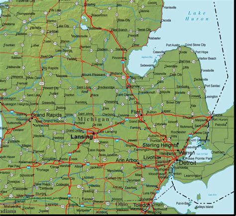 physical map of michigan michigan map