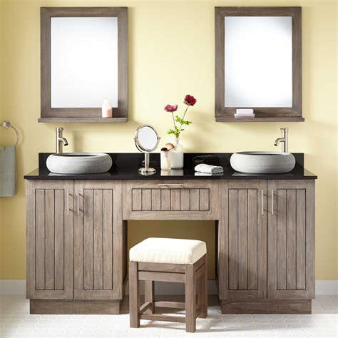 Teak double vessel sink vanity with makeup area gray wash bathroom