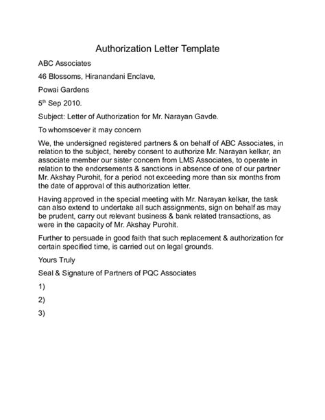 authorization letter format for partnership authorization letter format free