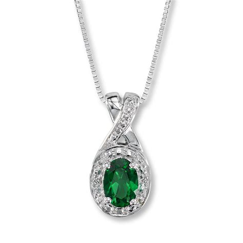 lab created emerald necklace with diamonds sterling