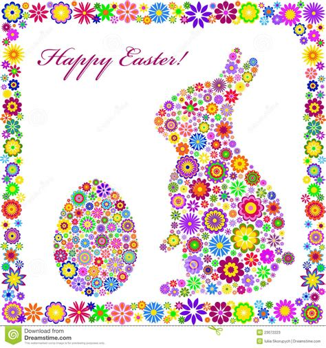 Colorful Easter Card On White Background Stock Photos