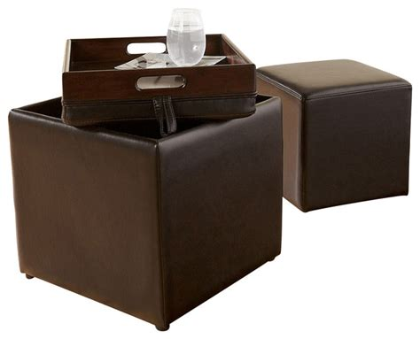 cube storage ottoman with tray cubit storage ottoman w tray chocolate modern