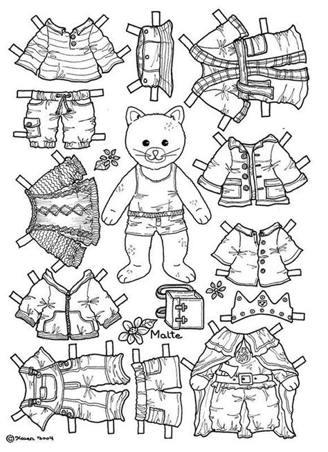 coloring page paper doll cat paper doll coloring page coloring pages pinterest