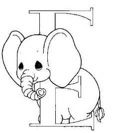 color con e dibujo para colorear elefantito letra e