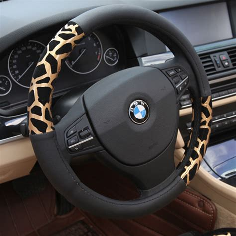 steering wheel upholstery winter plush car steering wheel cover personalized leopard
