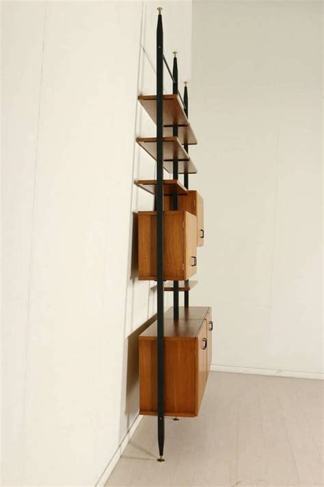 floor to ceiling bookcase adjustable elements teak veneer