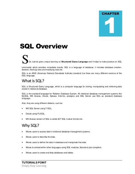 structured query language sql tutorial sql tutorial structured query language