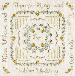 Golden Wedding Anniversary Cross Stitch Sampler Kit PAK47g