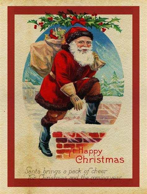 christmas card vintage santa  stock photo public domain pictures