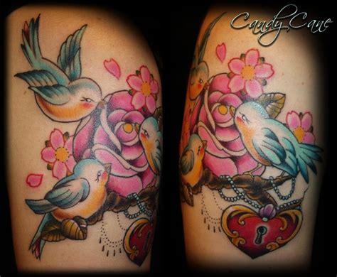 rose bird tattoo birds and cherry blossom tattoos