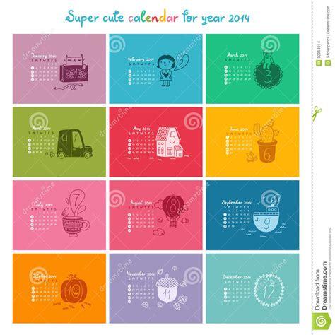 Calendario Colo Calendar 2014 In Color Stock Images Image 32364914