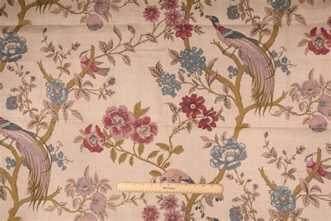 bird drapery fabric 2 yards floral printed linen blend drapery fabric with birds
