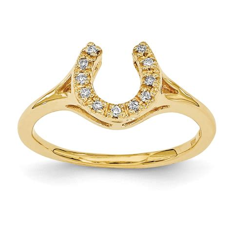 14k yellow gold polished horseshoe ring
