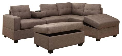 hton leather reversible sectional and storage ottoman rena reversible sectional chaise with drop tray
