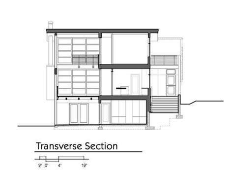 tranverse section gallery of leschi residence adams mohler ghillino