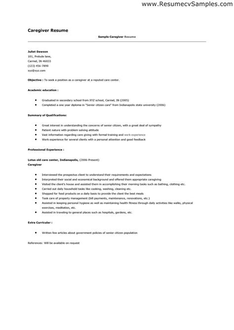 Sle Resume For Caregiver by Caregivers Resume Free Excel Templates