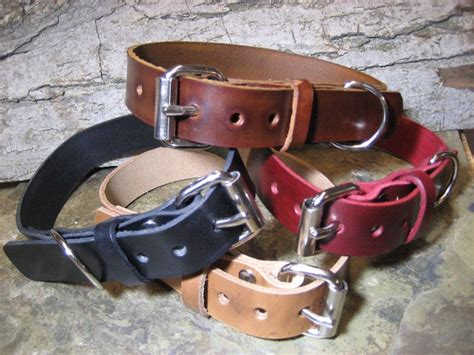 Handmade Leather Collars And Leashes - handmade leather 1inch wide collar collars black brown