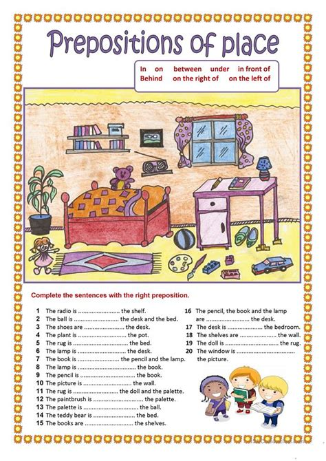 228 free esl prepositions of place worksheets